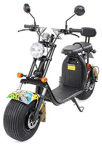 eFlux Chopper Two Elektroroller E-Scooter - Straßenzulassung - 45 km/h - 1500 Watt Motor - 2-Sitzer (Grafit Gelb)