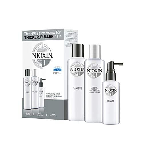 NIOXIN - Trial Kit de 3 Pasos - Tratamiento para Cabello Natural con Debilitamiento Leve e Hidratación Ligera (Champú antigrasa 150 ml - Acondicionador 150 ml - Tratamiento 50 ml) - Sistema 1