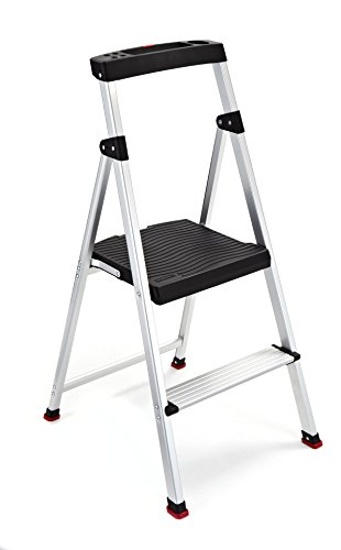 Rubbermaid RMA-2 2 Lightweight Aluminum Step Stool with Project Top, 225-pound Capacity, Silver
