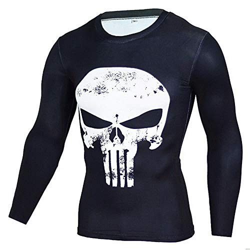 HOOLAZA Punisher T Shirt Series Weiß Avengers Super Heroes Kompressions Joggen Motion T-Shirt Lange Long Sleeve Herren Fitness T Shirt L