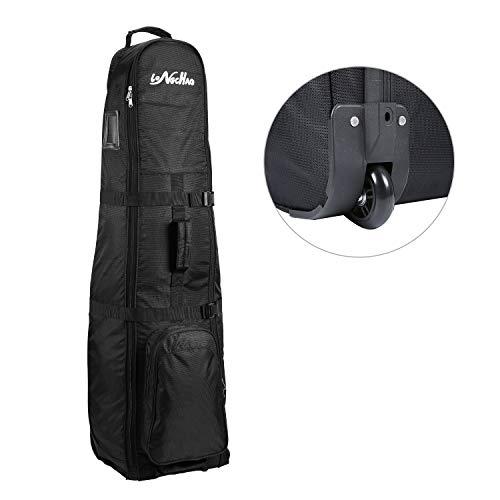 LONGCHAO Golf-Reisetasche, faltbar, tragbare Golftasche, mit Rad, leichtes Oxford-Gewebe, schwarz