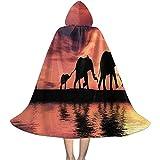 Rexing Capa del Cabo con Capucha Siluetas de Elefantes Africanos Capa del Río Capa para la Fiesta de Navidad de Halloween Disfraces de Cosplay Capas de Brujas para Niños Niñas