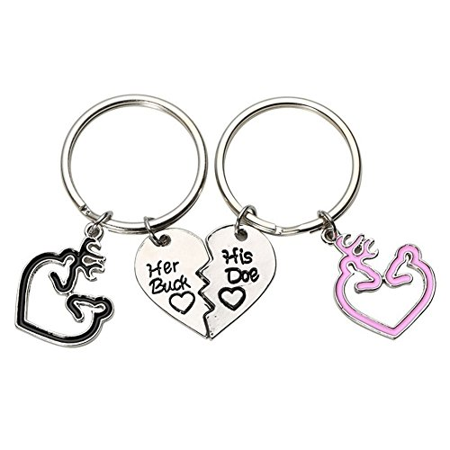 Bluelans 2 pcs Romantic Her Buck His Doe Key Ring Deer Heart Couple Keychain Bag Decor Valentine's Day/Mother's Day/Father's Day/Wedding/Anniversary/Party/Graduation/Christmas/Birthday Gifts