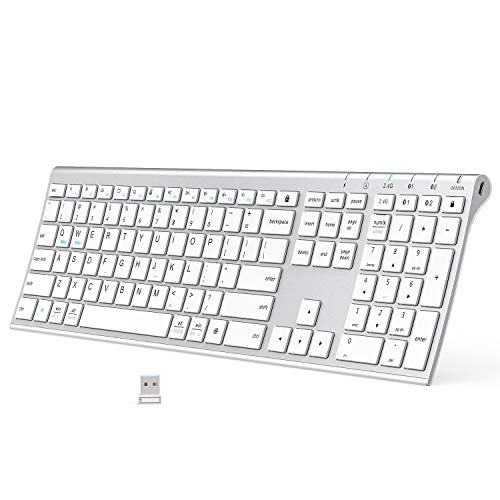 Bluetooth Keyboard, iClever DK03 Wireless Keyboard Multi-Device Keyboard, Dual Mode (Bluetooth 4.2 + 2.4G) Ultra-Slim Full-Size Keyboard for Mac, iPad, Apple, Android, Windows, Connect Up To 3 Devices