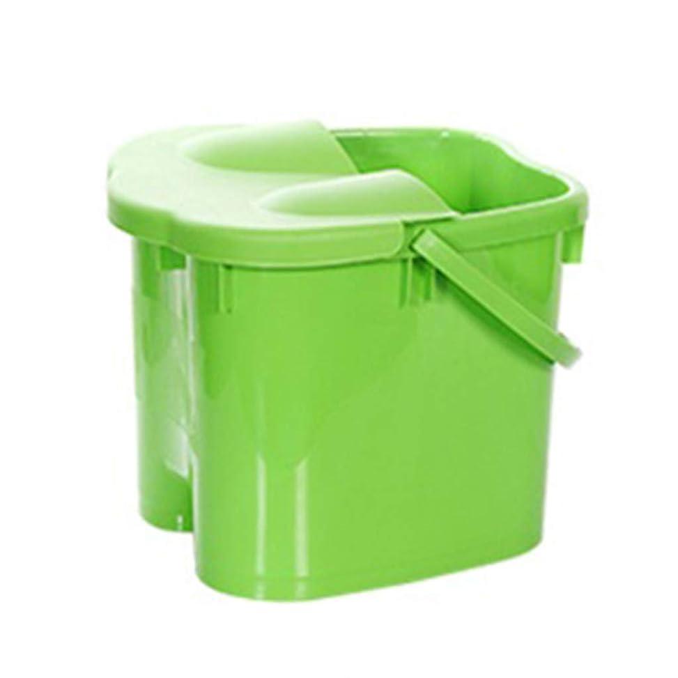 平和的懸念スクランブルフットバスバレル- 高さフットバスバレルマッサージ浴槽ふた付きポータブル世帯大人の足洗面台ペディキュアデトックス Relax foot (色 : Green, サイズ さいず : Height 38cm)