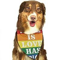 レインボーLGBT愛は愛には性別がない犬のバンダナペットの装飾-調節可能な柔らかくて耐久性のある洗えるペットの三角形のスカーフ、犬と猫にフィット