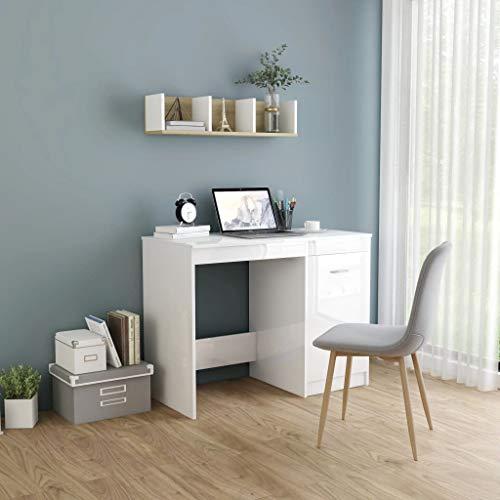 vidaXL Schreibtisch mit integriertem Schrank Bürotisch Computertisch Arbeitstisch Laptoptisch Büromöbel PC Tisch Hochglanz-Weiß 100x50x76cm Spanplatte
