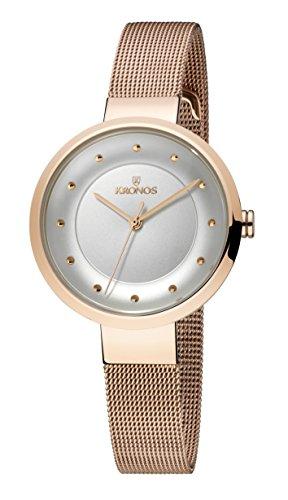 KRONOS - Ladies Rose 997.7.43 - Reloj de señora de Cuarzo, Brazalete de Acero Chapado Oro Rosa, Color Esfera: Plateada