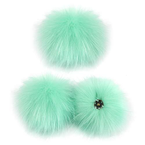 Xuebai 3 Piezas 10cm DIY Bola de pompón Peluda Colorida con botón de presión para Sombrero, Zapatos, Bufanda, Bola de pompón L #