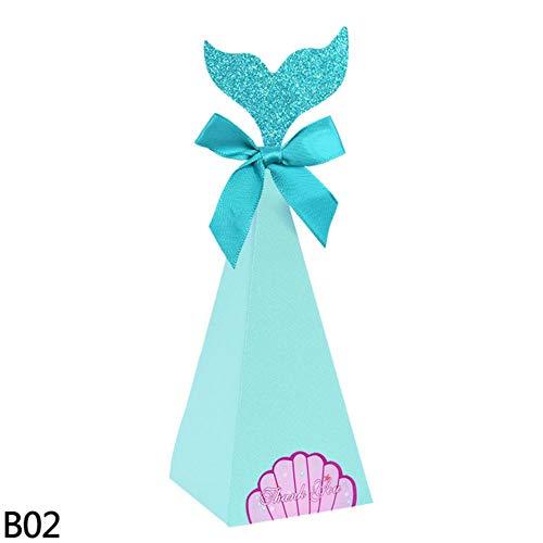 TOSISZ Mermaid Candy Box DIY Paper Box Bags Mermaid Birthday Decorations Little Mermaid Gift Box For Kids Birthday Party Favor Supplies, B02,20pcs