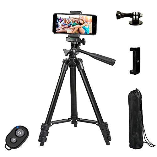 Dezuo 107cm Aluminium Handy Stativ für Kamera, iPhone, Gopro mit Adapter und Universellen Smartphone Halterung und Bluetooth Fernbedienung