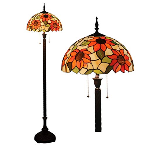 Tiffany Style Floor Light 16 Inch Stained Glass Shade Floor Lamps Zipper Switch Decoration Reading Lamps for Living Room Bedroom Office, E27 110v, 240v (Design : B) (Color : 2)