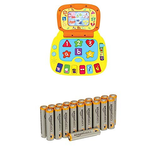 Peppa Pig PP02 Laugh and Learn Laptop Electronic Toy with Amazon Basics Batteries