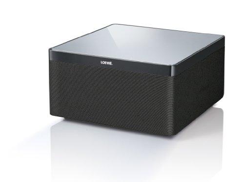 Loewe 51205L00 AirSpeaker Bassreflex Lautsprecher (80 Watt, AirPlay) für Apple iPhone/iPad/iPod, Aluminium/schwarz