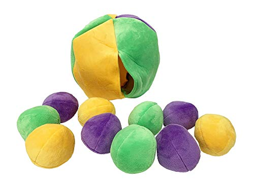 Midlee Hide a Ball Puzzle Dog Toy with 10 Plush Squeaker Balls (Small)