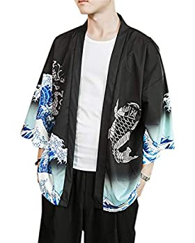 PRIJOUHE Men s Kimono Cardigan Jacket Japanese Style Flying Crane Seven Sleeves Open Front Coat