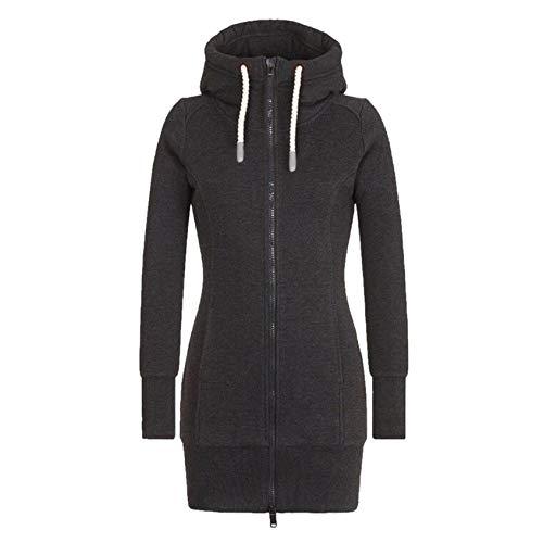 TICOOK Damenmode Plaid Druck Jacke Kapuze Rollkragenpullover Outwear Reißverschlusstasche Sweatshirt Mantel