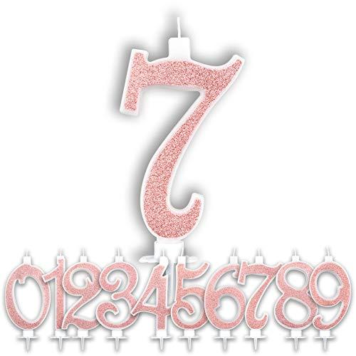 Candeline Compleanno Particolari Numeri Grandi Rosa Gold | Decorazione Torta Festa Compleanno per Bambina Ragazza Donna | Candele Topper Auguri Anniversario | Scegli i tuoi Numeri (Numero 7)