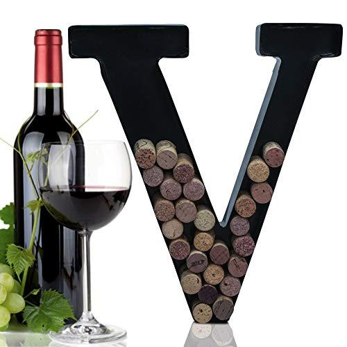 Métal Lettre Support pour Liège de vin avec Monogramme W/Gratuit kit de Montage Mural, A-Z V