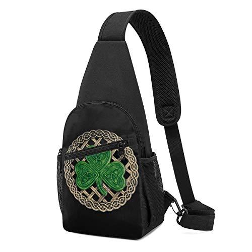 Shamrock Lattice And Celtic Knots On Black Shoulder Backpack Sling Chest Bag Crossbody Bag Cover Pack Rucksack