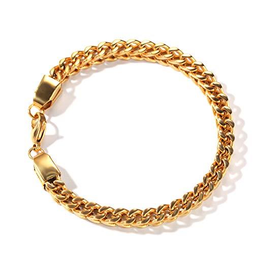 Hip-hop - Pulsera de acero inoxidable, cuadrada, anticalle, para hombre y mujer, cristal y decoración de amor (oro, plata), pulsera, 123, dorado, Bracelet+necklace