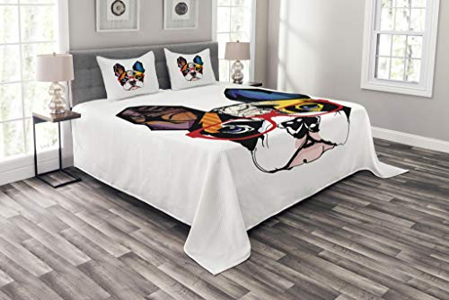 Lunarable Art Bedspread, French Bulldog Portrait with Hipster Glasses Abstract Modern Colorful Ears and Eyes, Decorative Quilted 3 Piece Coverlet Set with 2 Pillow Shams, Queen Size, Yellow Ruby