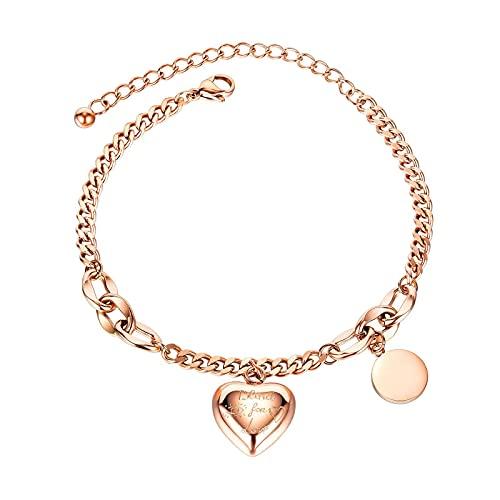 1 pulsera para mujer con diseño de tarjetas redondas, acero de titanio, oro rosa