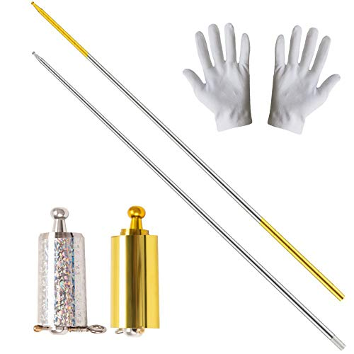 2 Pack Pocket Staff, Retractable Collapsible Bo Staff, Professional Magician Stage Street Magic Performance Magic Staff, Expandable Staff for Adults, Gifts and Magicians (Gold, Silver, 43.3Inch)