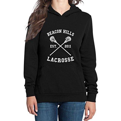 Shirtgeil Teen Beacon Hills Lacrosse Wolf Damen Schwarz Medium Kapuzenpullover Hoodie