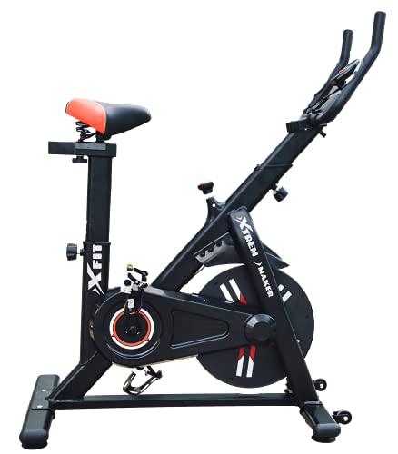 XTREM MAKER Bicicleta Spinning Estática de Fitness XBIKE-N con Pantalla LCD, Asiento y Sillín Ajustables. Silenciosa, Resistencia Regulable. Volante Inercia 13 kg, Soporte Móvil y Tableta