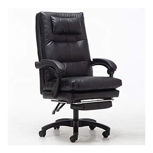 JCXOZ Büro PU Lehnstuhl stilvoller justierbarer Gaming Chair Sitzkopfstütze Ergonomische mit Fußrasten Lehner mit Lendenwirbelstütze Höhe Bürostühle (Color : Schwarz)
