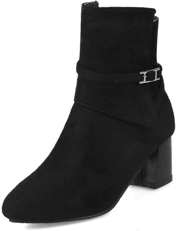 AN Womens Chunky Heels Metal Buckles Zipper Imitated Suede Boots DKU01989