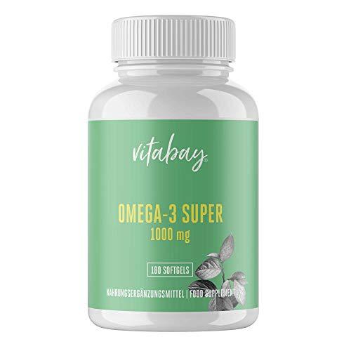 Vitabay Omega-3 Super 1000 mg • 180 Softgels • Liefert 300 mg EPA & 200 mg DHA • Hochdosiert