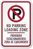 TammieLove Señal metálica de Pared de Aluminio para Exteriores, Texto en inglés No Parking Loading Zone Prohibido Estacionamiento Zona De Cargamento, 20 x 30 cm