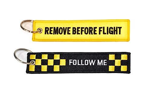 Pack llaveros con Texto Remove Before Flight+ Follow me Negro