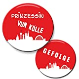 Polarkind 12er Set JGA Buttons Köln 1 Prinzessin vun Kölle Button (59 mm) + 11 Anstecker Gefolge (38 mm) für Junggesellinnenabschied Feier Party Handmade