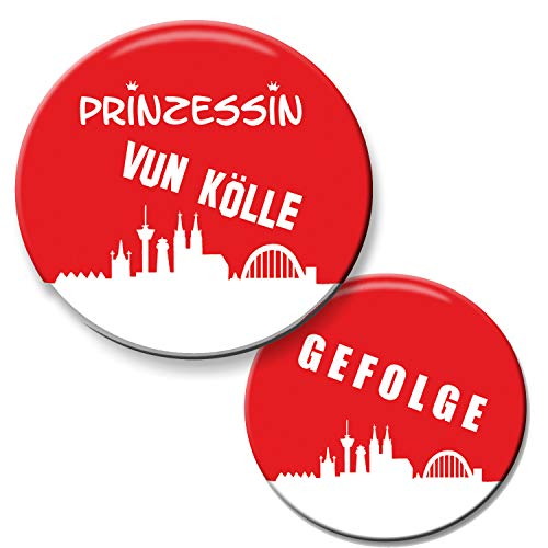 Polarkind 12er Set JGA Buttons Köln 1 Prinzessin vun Kölle Button (59 mm) + 11 Anstecker Gefolge...
