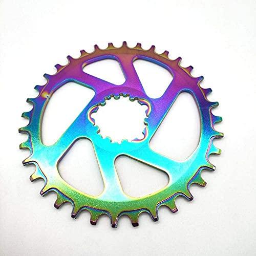 ZHTT Ajuste para Plato de Bicicleta Rainbow 30 32 34 36 38T Plato de Bicicleta de Ancho Estrecho para Plato de Bicicleta Gxp Xx1 XO CNC Al7075