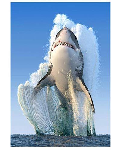 Pintura De Diamante Personalizada 5D Seguridad Del Producto Terminado Paquete De Material No Tóxico Juguetes Educativos Juguetes De Descompresión Saltando Gran Tiburón