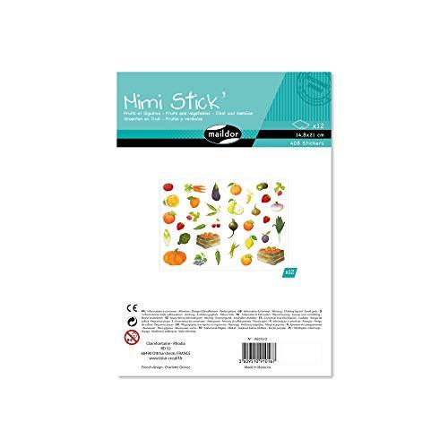 Maildor AE016O Packung mit 408 Stickers Mini Stick (ideal für Kinder ab 5 Jahren, 12 Blätter in Format DIN A5, 14,8 x 21 cm, Obst und Gemüse)