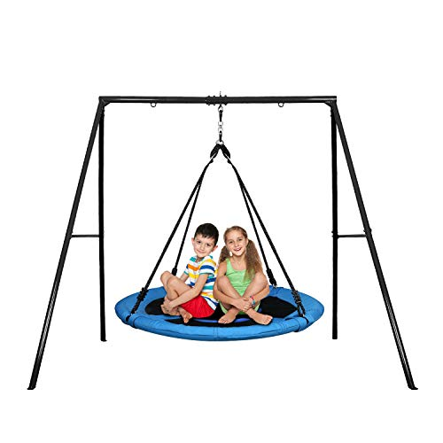Trekassy 440lbs 40 Inch Saucer Tree Swing Set with Heavy Duty A-Frame Metal Swing Stand