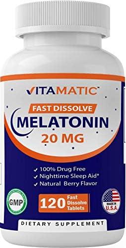 Vitamatic Melatonin 20mg Tablets   Vegetarian, Non-GMO, Gluten Free   HIGH Potency 20 MG   Natural Berry Flavor  