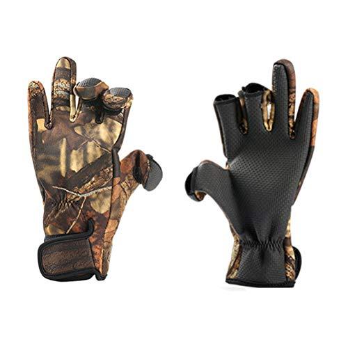 Leikance Angelhandschuhe, 1 Paar Outdoor-Angeln, rutschfeste Handschuhe aus Neopren, für Outdoor-Jagd, Wandern Gr. Large, camouflage
