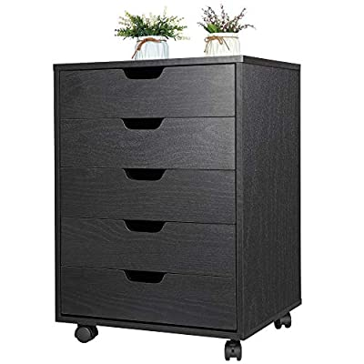ZENY 5 Drawers Office Storage Cabinet with Casters Under Desk Cabinet Storage Desk Drawers, Home Furniture Drawer Cabinet Organizer Night Stand Table