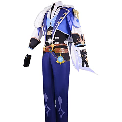 Game Anime Genshin Impact Cosplay Costume Uniform Kaeya Alberch Same Set for Halloween Christmas Party M Blue