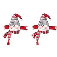 ABOOFAN 2Pcsクリスマスカーテンバックルタイバックセットかわいい鹿サンタ雪だるまカーテンタイバックホールドバックファスナーバックルホームホリデー季節の装飾