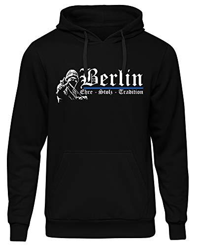 Berlin Ehre & Stolz Männer und Herren Kapuzenpullover | Fussball Ultras Geschenk | M1 FB (Schwarz, XXXL)
