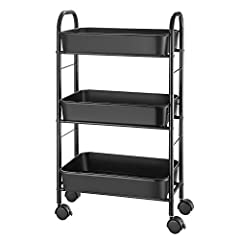【Storage Cart】Keep supplies and essentials neatly stored and easily visualize and access storage. Suitable for closets, kitchens, bathrooms, garages, laundry rooms, offices. 【Multifunction】Includes removable perforated top shelf, and the side frames ...