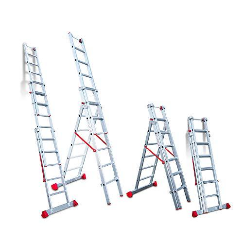 Faraone - Escalera Multiuso EN 1506 - Escalera 3 Tramos - Escalera 5+6+6 peldaños - 195x56x20cm - Peldaños Cómodos - Escalera de Aluminio - Ligera y Fácil de Manejar - Peldaños antideslizantes