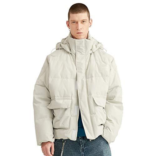 Jassen Heren Katoen Jas Winter Hoge Kraag Warm Jas Paar Koud Jas Korte Dikke Blouse Verwijderbare Hoed Comfortabele Stof